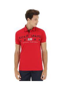 Camisa Polo Ecko Piquet Estampada E292A - Masculina - Vermelho