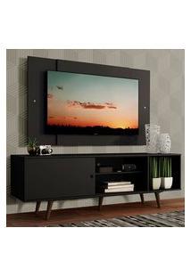 Rack Madesa Dubai Com Pés E Painel Para Tv Até 58 Polegadas - Preto/Rustic 8Nd8 Preto