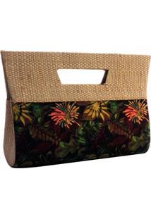 Bolsa Carteira De Mão Em Palha Artestore De Buriti E Estampa Natureza Floral