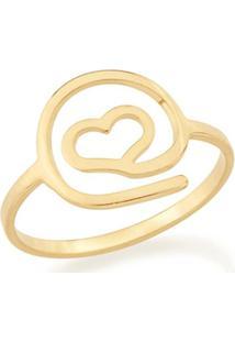 Anel Skinny Ring Simbolo Arroba Com Formato De Coração Rommanel - Feminino-Dourado