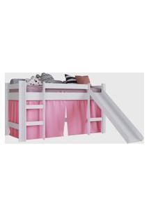 Cama Elevada C/ Escorregador Branco C/ Cortina Rosa Completa Moveis