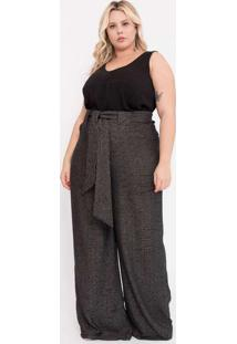 Calça Almaria Plus Size Pianeta Pantalona Tweed Co