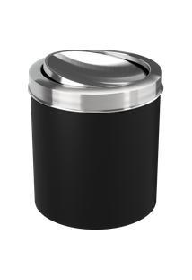 Lixeira Com Tampa Basculante Inox 19,5 X 20 X 22,4 Cm 5,4 L Preto Coza