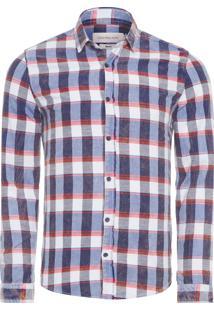Camisa Masculina Xadrez Diagonal - Azul