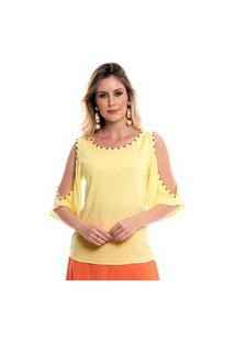 Blusa Bisô Bordada Amarela