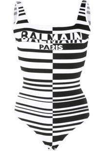 Balmain Body Listrado Com Logo - Branco