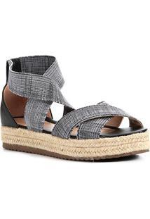Sandália Shoestock Flatform Elástico Feminina - Feminino-Preto+Branco