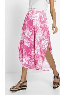 Calça Cropped Com Fendas Floral Rosa