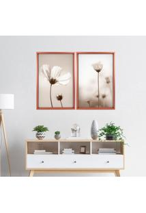 Quadro Love Decor Com Moldura Chanfrada Flor Classica Rose Metalizado - Grande