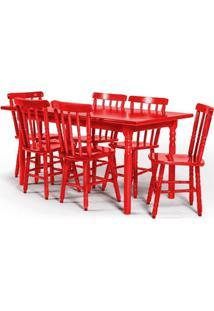 Conjunto De Mesa 160X80 Mônaco Com 6 Cadeiras Assento Pequeno - Vermelho - Btb Móveis