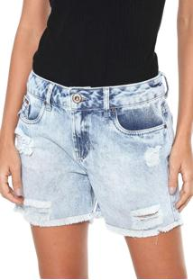 Bermuda Jeans Lunender Reta Destroyed Azul