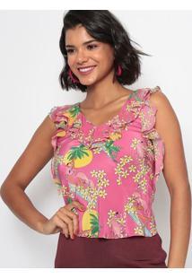 Blusa Em Seda Com Babados- Pink & Amarelaeva