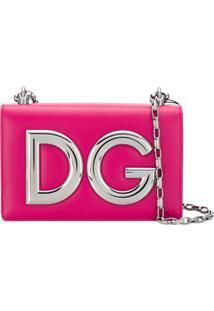 Dolce & Gabbana Bolsa Tiracolo 'Dg Girls' De Couro - Rosa