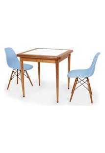 Conjunto Mesa De Jantar Em Madeira Imbuia Com Azulejo + 2 Cadeiras Eames Eiffel - Azul Claro