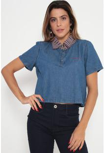 Blusa Jeans Cropped- Azul & Vermelha- My Favorite Thmy Favorite Things