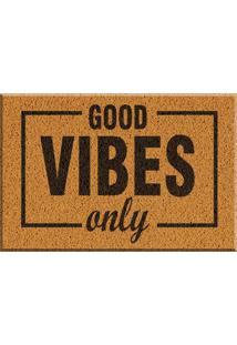 Capacho De Vinil Good Vibes Only Amarelo Único Love Decor