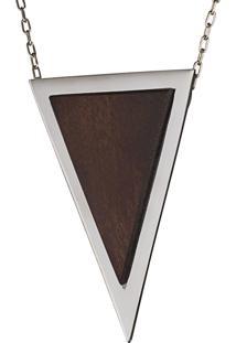 Pingente Wooden Design Triangular Grande Em Prata 925 - Madeira E Prata