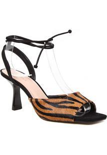 Sandália Couro Shoestock Pelo Zebra Salto Médio Feminina - Feminino-Zebra