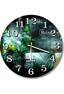Relógio De Parede Decorativo Heineken Beer 35Cm Médio