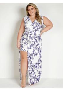 Vestido Longo Floral Transpassado Plus Size