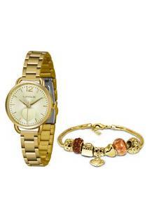 Kit Relógio Lince Feminino Funny Analógico Dourado Lrgh120L-Kx06C2Kx