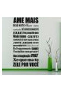 Adesivo De Parede Frase Ame Mais - P 50X25Cm
