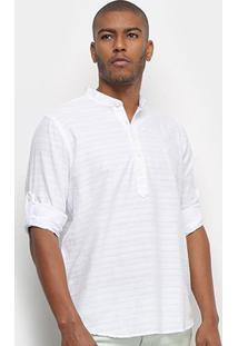 Camisa Aleatory Bata Manga Longa Linho Masculina - Masculino-Branco