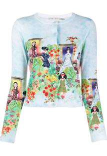Alice+Olivia Cardigan Ladies Com Estampa - Azul