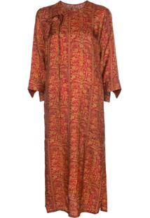 Uma Wang Floral Patterned Shift Dress - Vermelho