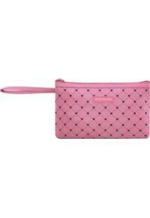 Nécessaire Com Alça- Pink & Preta- 12X21X3Cm- Jajacki Design