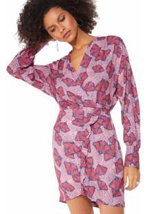 Vestido Estampado Babado Diagonal