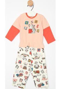 Pijama Body Cavado Manga Longa & Calã§A- Salmã£O & Cremesonhart