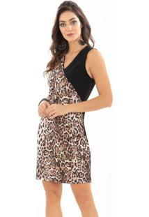 Vestido Quintess Animal Print E Preto Decote V