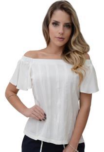 Blusa Mamorena Ombro Elástico Frente Ponto Palito Branco