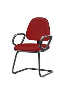 Cadeira Sky Com Bracos Fixos Assento Courino Vermelho Base Fixa Preta - 54828 Vermelho