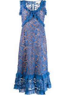 Michael Michael Kors Vestido Com Renda E Acabamento De Babados - Azul