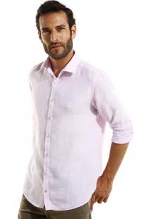 Camisa Dudalina Manga Longa Puro Linho Cores Masculina (Rosa Claro, 1)