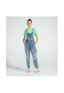 Macacão Longo Jeans Liso Com Puídos E Bolso Diferenciado