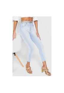 Calça Cropped Jeans Lança Perfume Skinny Delavê Azul