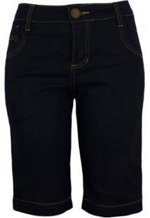Bermuda Chá De Mulher Jeans Escuro - Feminino-Azul