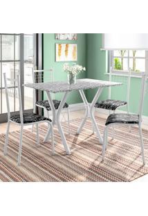 Conjunto De Mesa Miame Com 4 Cadeiras Lisboa Branco Prata E Preto Floral