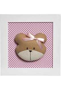 Quadro Decorativo Cara Da Ursa Quarto Bebê Infantil Menina Potinho De Mel Rosa
