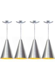 Kit 04 Luminárias Pendente Cone Alumínio Escovado E Amarelo