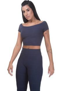 Blusa Cropped Miss Blessed Bandagem - Feminino-Azul Escuro
