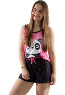 Baby Doll 4 Estações Pijama Verão Feminino Panda Curto Regata Adulto Rosa