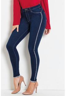 Calça Jeans Com Faixas Laterais Em Strass