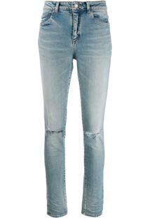Saint Laurent Calça Jeans Cintura Alta Com Joelho Rasgado - Azul