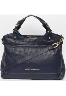 Bolsa Em Couro Com Pespontos- Azul Marinho- 26X42X15Jorge Bischoff
