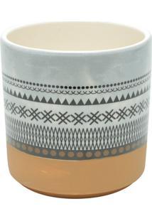 Vaso De Cerâmica Branco E Laranja Aztec Urban