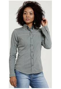 Camisa Feminina Sarja Stretch Manga Longa Disparate